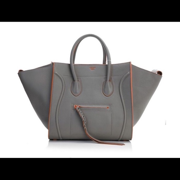 d956dfa1e08a Celine Handbags - Celine Luggage Phantom Square Tote Bag Grey Orange